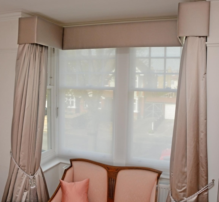 Full length lined and interlined curtains with upholstered flat pelmet. Fabric - Harlequin