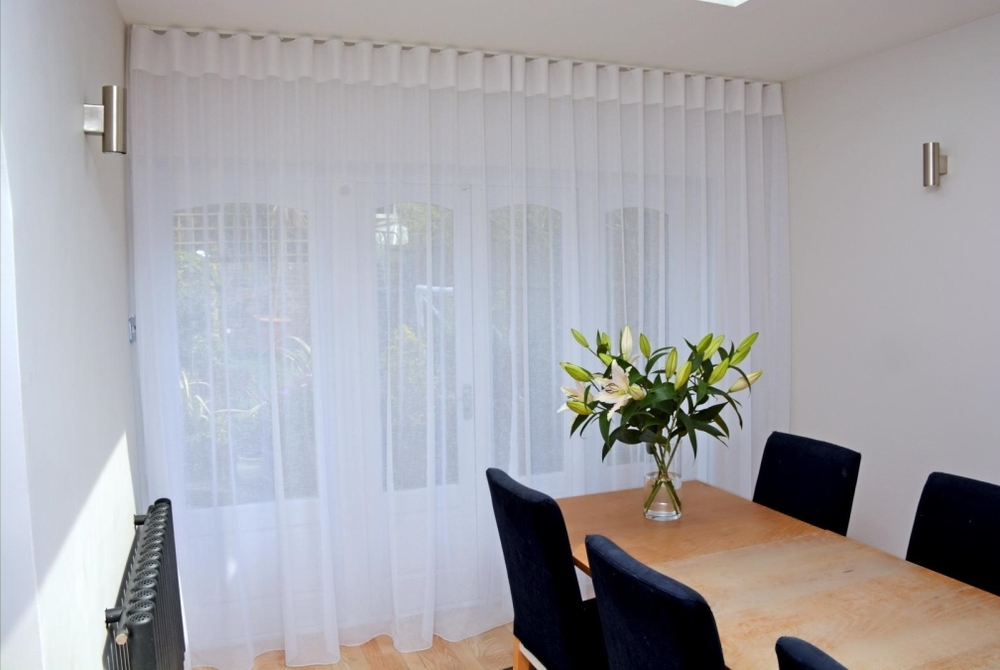Sheer, full-length, wave system curtains