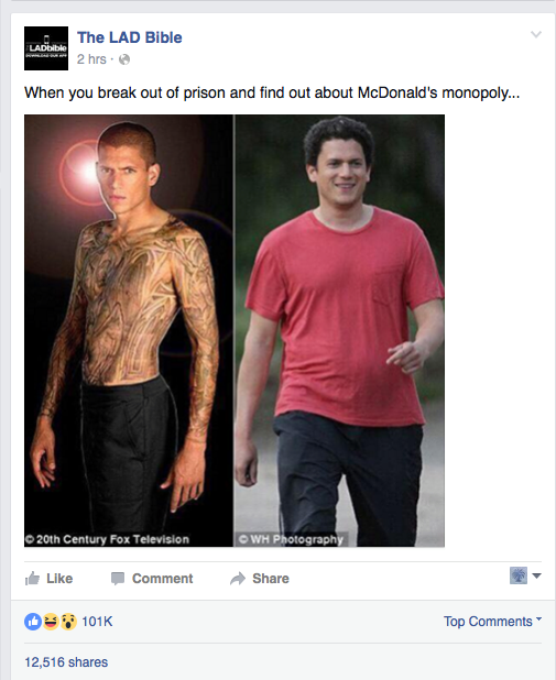 Image from Wentworth Miller's Facebook page