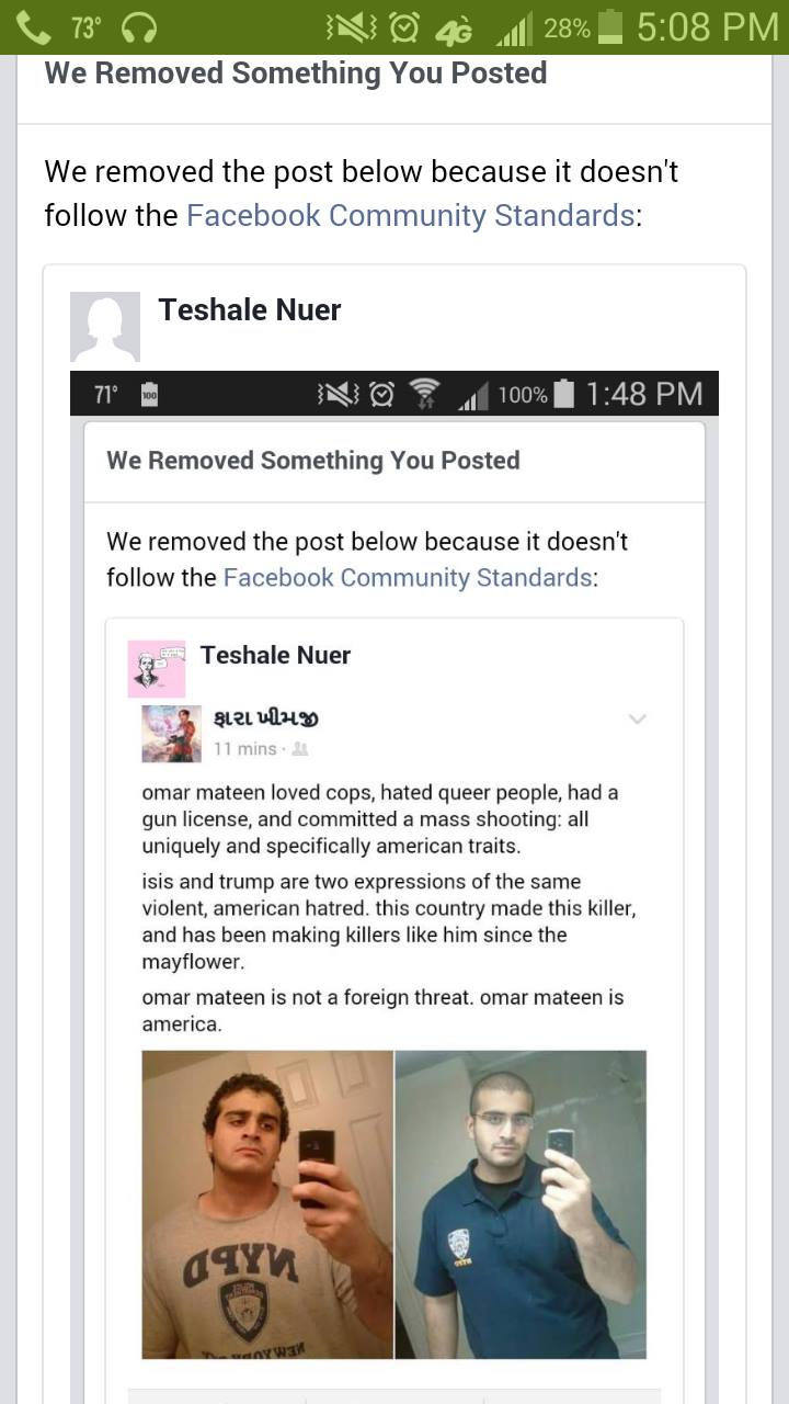 Facebook have repeatedly removed this post and indefinitely banned the author Teshale Nuer from the platform