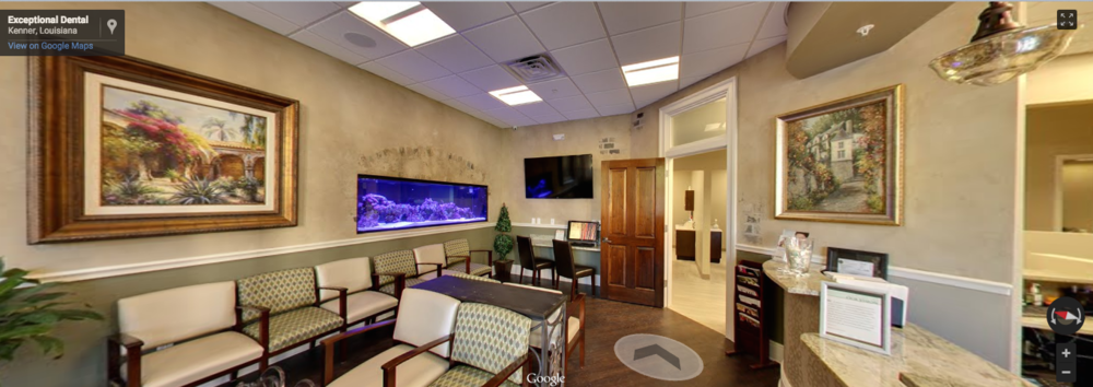 Exceptional Dental - Kenner, LA   CLICK photo to walk around inside   one of the area's swankiest dental offices.