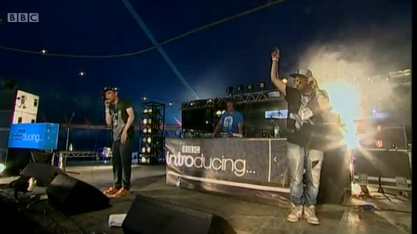HOLDIN' COURT TO GLASTONBURY It's not often we get to boast that an act we put on at our last event also played at Glastonbury later that month! Above is an image capture of Skuff performing live on the BBC Introducing stage alongside Inja representing for UK Hip-Hop.