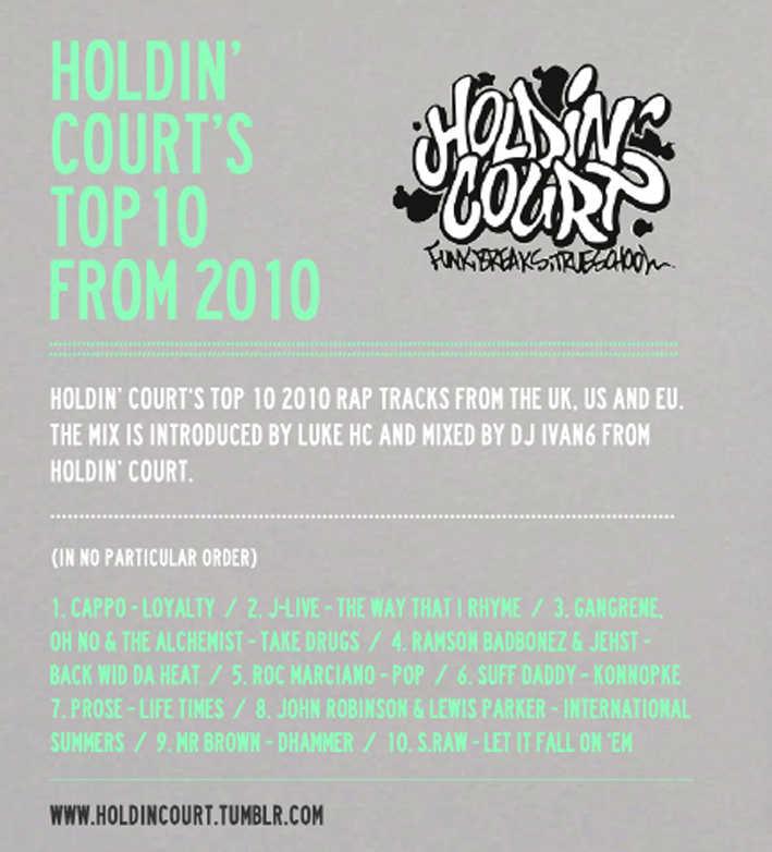 Holdin' Court's Top 10 from 2010   //  Holdin' Court's top 10 2010 rap tracks from the UK, US and EU. The mix is introduced by Luke HC and mixed by DJ IVAN6 from Holdin' Court.  (In no particular order)  1. Cappo - Loyalty (UK) 2. J-Live - The Way That I Rhyme (US) 3. Gangrene, Oh No & Alchemist - Take Drugs (US) 4. Ramsom Badbonez & Jehst - Back Wid Da Heat (UK) 5. Roc Marciano - Pop (US) 6. Suff Daddy - Konnopke (EU) 7. Prose - Life Times (UK) 8. John Robinson & Lewis Parker - International Summers (US/UK) 9. Mr Brown - Dhammer (UK) 10. S.Raw - Let It Fall On 'Em (EU)  //  This mix is available for free download from Soundcloud:   http://soundcloud.com/djivan6/holdin-court-top-10-from-2010      The next Holdin' Court will be on the 4th February at Poison Bar, Basingstoke with performances from Prose, Deeflux & TPS.    Happy New Year!   Peace, HC