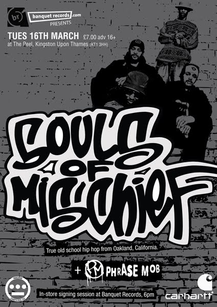 …Guess where we're gonna be Tuesday night!!! The last few tickets available from Banquet records for just £7. Souls of Mischief are also doing an In-Store signing at Banquet from 6pm too. Check-it!