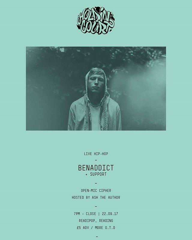 Coming up this September we have @benaddicthiphop who returns for the second time to #holdincourt in #rdguk!  Join us from 7pm on 22.09.17!! #benaddict #hiphop #ukhh #rap #yogocop #teamdreebs #villagelive