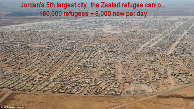 The Zaatari refugee camp for those fleeing the Syrian conflict, located in the desert on the Syrian-Jordanian border.