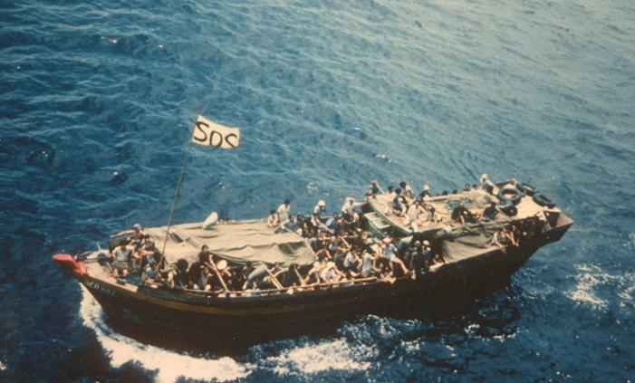 Vietnamese 'Boat People' refugees escaping the end of the Vietnam War.