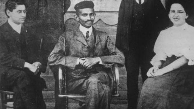 A young lawyer Gandhi sits for a photo in South Africa in 1924.