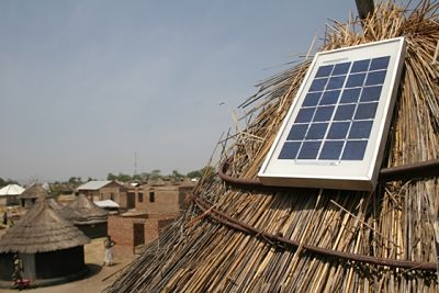Recently-installed solar panel in Western Kenya.