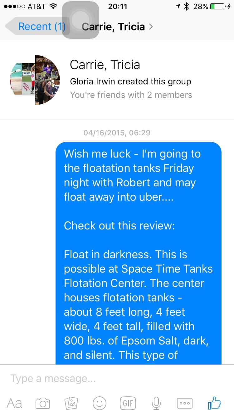 My fearful pre-float message to my girlfriends.