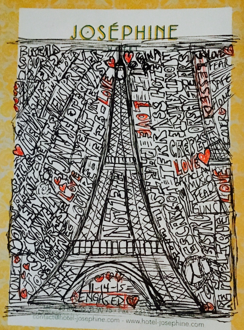 "My ""doodle""  on hotel stationary scribbled on the plane from Paris to Chicago. Truly reflects the gamut of emotions we experienced during this time in this amazing city"