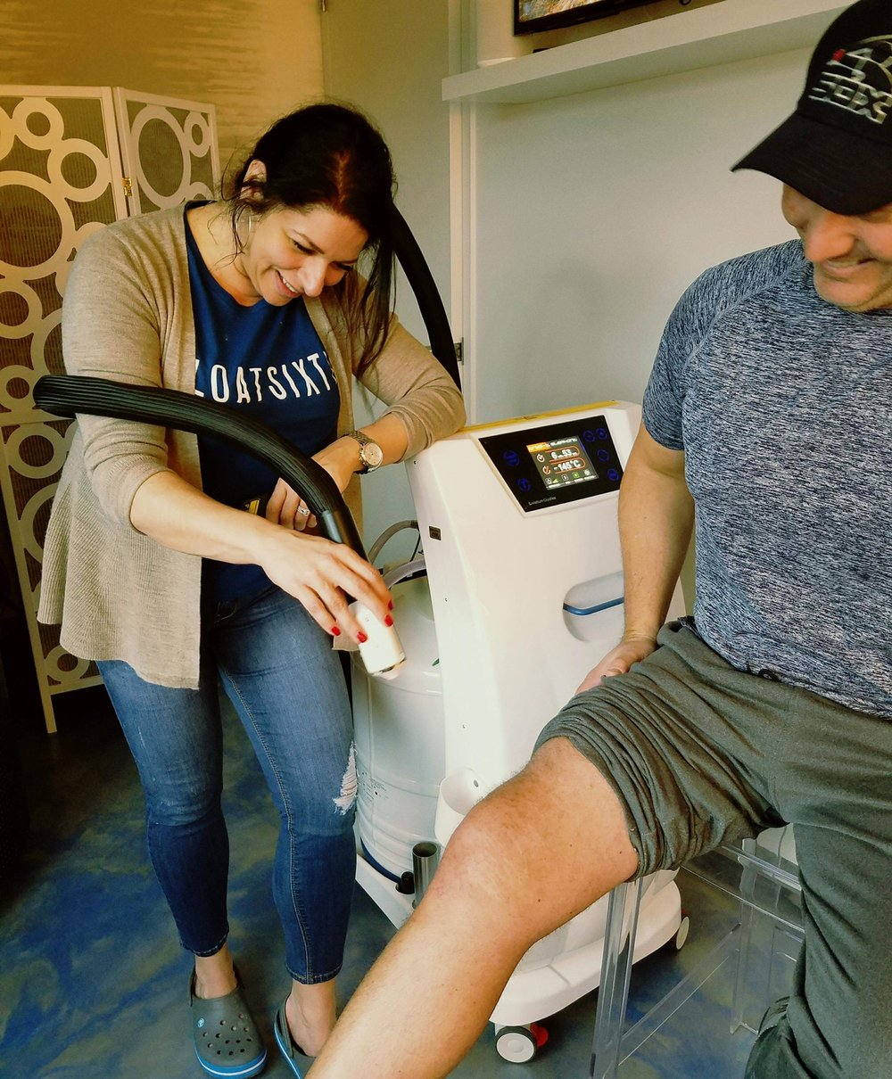 LOCAL CRYOTHERAPY - While whole body cryotherapy is applied to the entire body, localized cryotherapy focuses on the specific areas of your skin. Local cryotherapy is used to target localized areas that are in pain or inflamed to cold temperatures between -240°F to -256°F for about 5 - 10 minutes per location.Localized cryotherapy is used to minimize pain, promote healing, treat wounds and swelling, as well as for skin rejuvenation. We also have reports of headache alleviation. This type of cryotherapy can be applied to any specific injured part of the body such as ankles, shoulders, feet, elbows, knees, and necks.