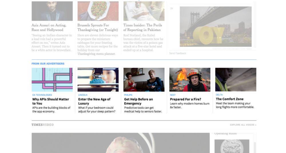 Paid Posts featured the Top News section of The New York Times homepage