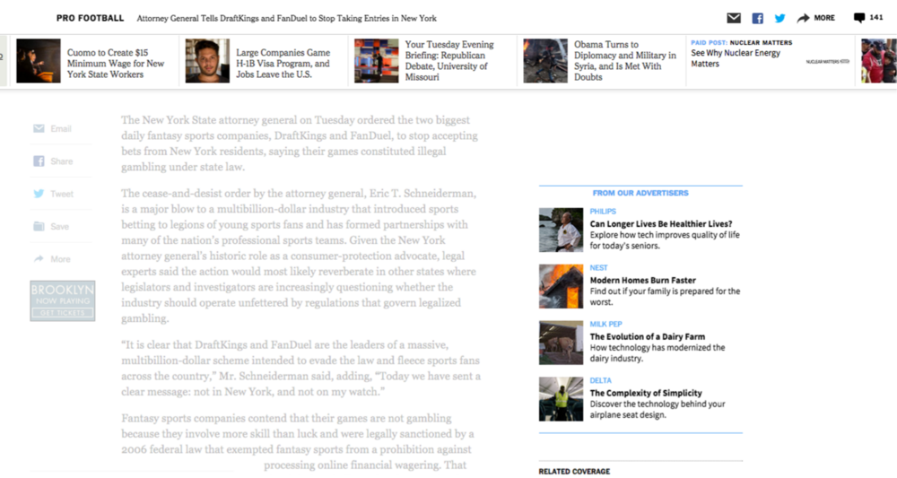 Paid Posts integrated within the top and middle of a Times article page
