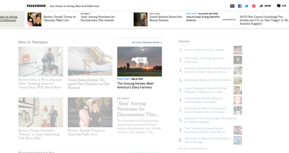 Paid Posts integrated within the bottom of a Times article page