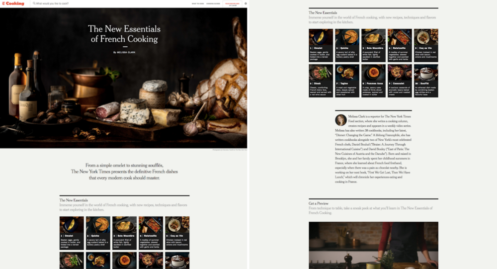 The digital cookbook is composed of ten chapters (e.g. Omelet, Soufflé) that link to exclusive instructional content developed by NYT Cooking.