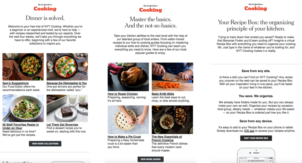 NYT Cooking also reaches out to free trialers via email to onboard them to our product features and recipe database.