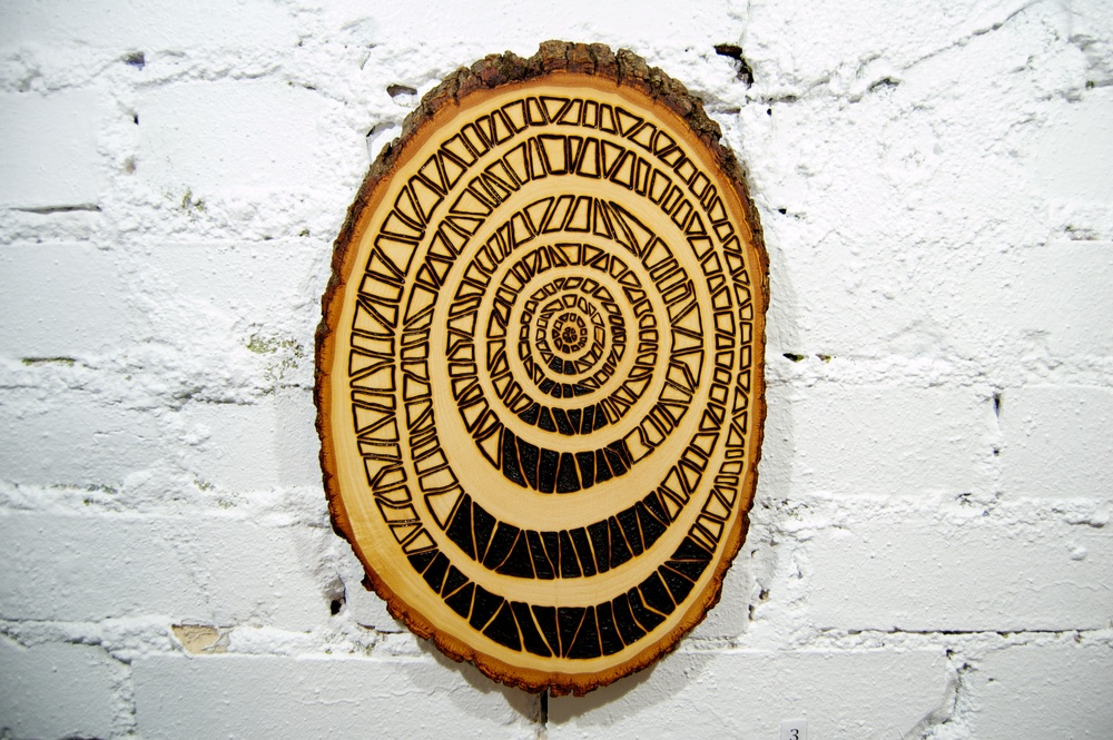 Entrance  (2015)  Wood Burning on Bass Wood Bark Slab 8½ in x 1 in x 12 ½ in  SOLD