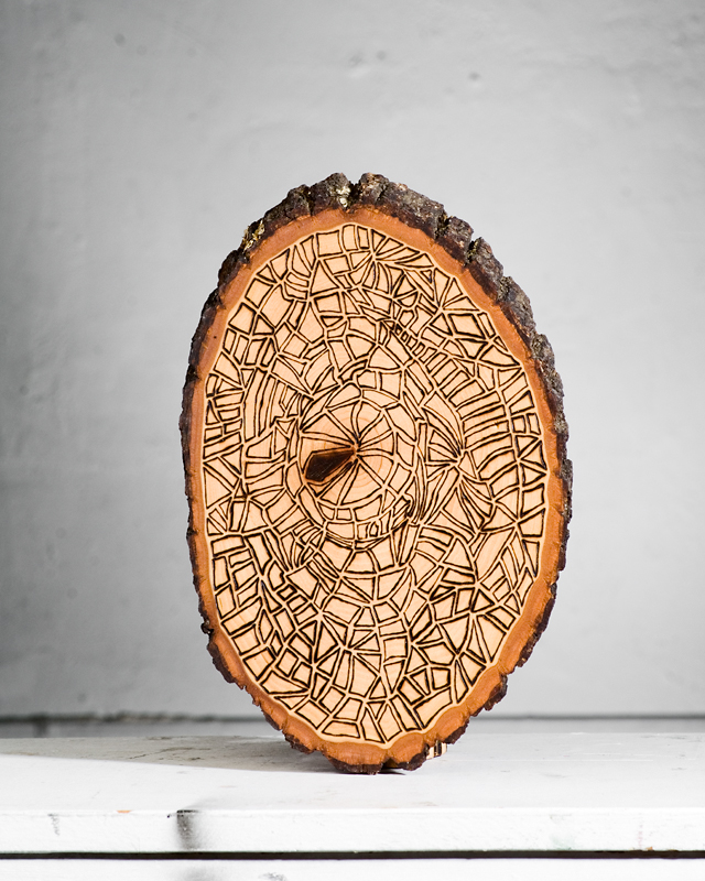 Time  (2015)  Wood Burning on Bass Wood Bark Slab 8½ in x 1 in x 11 ½ in  SOLD