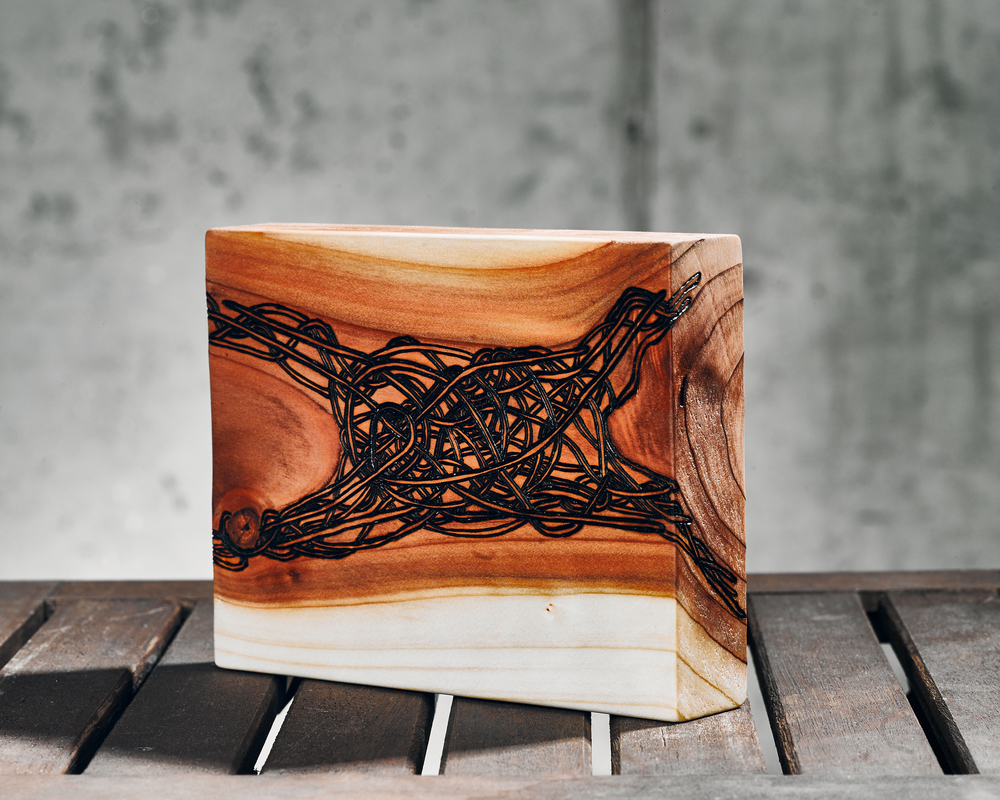 Clarity  (2015)  Wood Burning on Red Wood 7 in x 1 ½ in x 6 in  SOLD