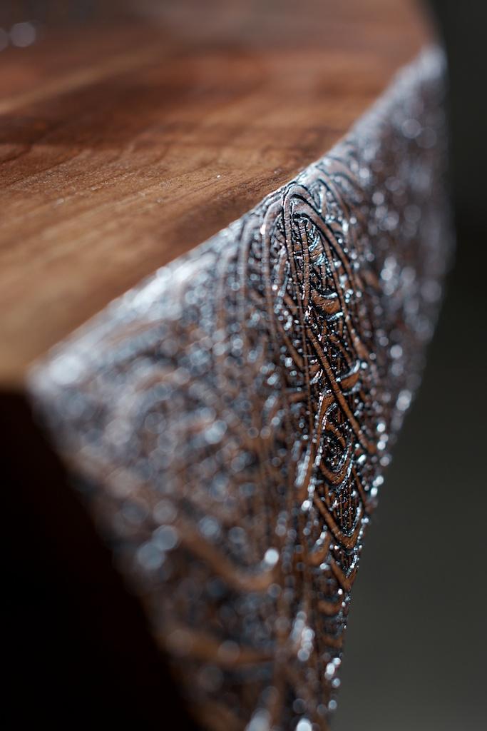 Gratitude (2016)  Wood Burning on Black Walnut Live Edge Slab Amethyst Crystal Slab Inlay 36 in x 2 in x 17.5 in