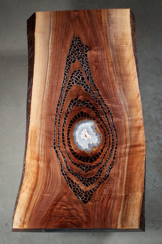 Gratitude  (2016)  Wood Burning on Black Walnut Live Edge Slab Amethyst Crystal Slab Inlay 36 in x 2 in x 17.5 in