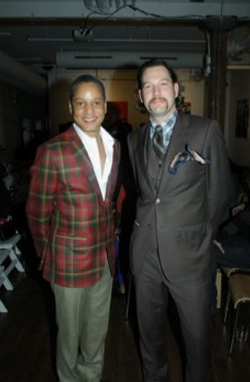 Left: Canadian Tartan Jacket. army green cashmere trousers, White Shirt. Right: 3-piece summer weight wool suit, Wool tie and tartan shirt with pocket square. Designed by Victoria McPhedran
