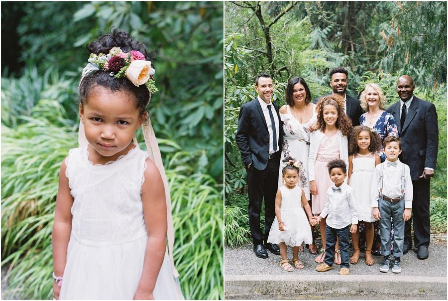 Film captures lovely family formal photos at oregon garden wedding.