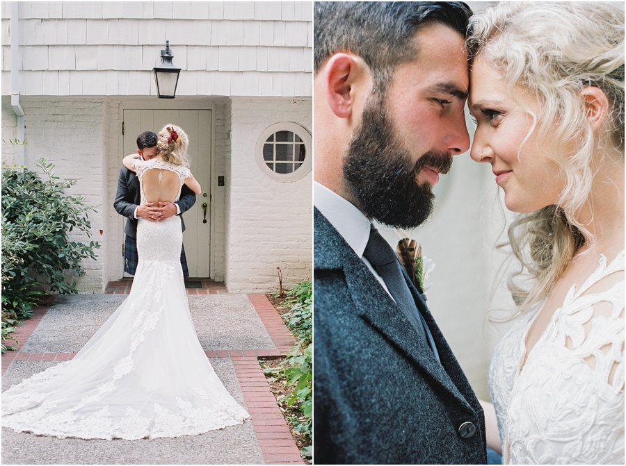 Wedding couple hug and kiss during their formal film portrait session.