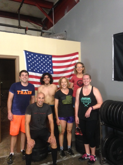 Noon Class getting after the WOD yesterday, For AMERICA!!!