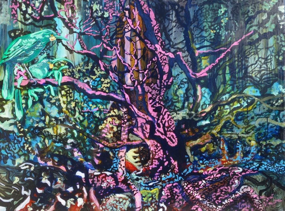 "Tane Mahuta ""God of the Forests,"" Acrylic on Canvas, 29"" x 39"", SOLD"