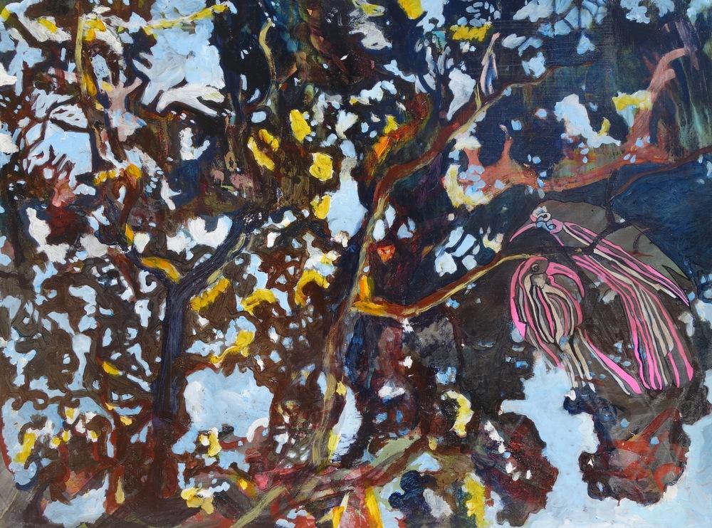 """Korua """"Two,"""" Acrylic on Canvas, 29"""" x 39"""", $5,000"""