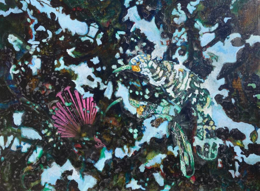 "Piwaiwaka ""Fantail,"" Acrylic on Canvas, 29"" x 39"", SOLD"