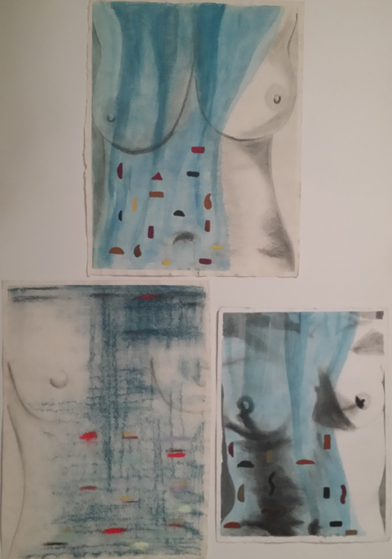 "'How Do I Find You' Graphite, Watercolor, Pastel on Paper, Triptych, 3 panels: 13""x18"", 14""x18"", 11""x15"" $1500"