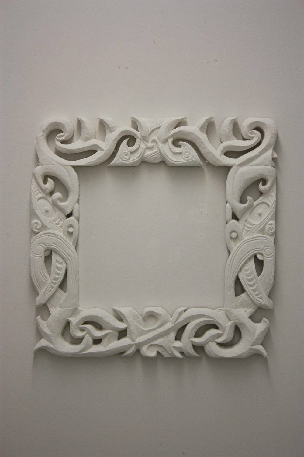 "'Carved White Frame' Wood carving, 24"" x 24"" $3000"