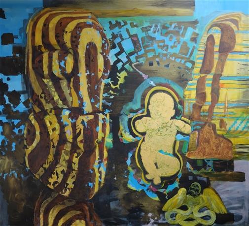"'Ruaumoko Dream,' Mixed Media on Paper, 45"" x 45"""