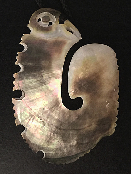 5. Hei matau (fishhook) silver lipped pearl shell  $300.00