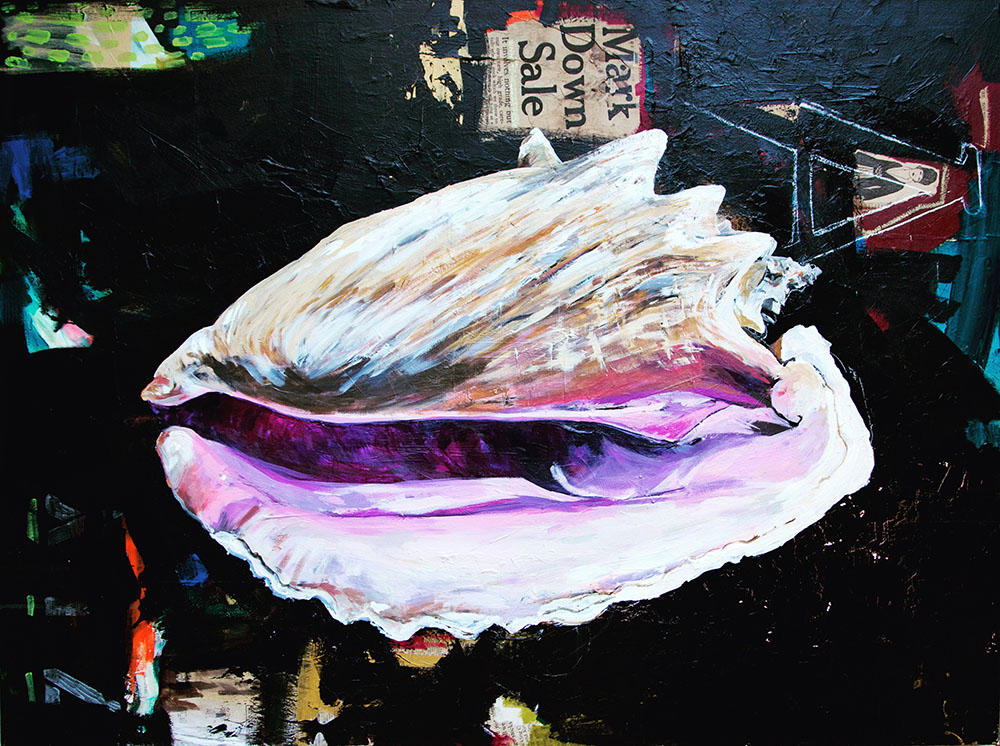 "CONCH ACRYLIC AND COLLAGE ON WOOD PANEL 48"" x 36"" $3350"
