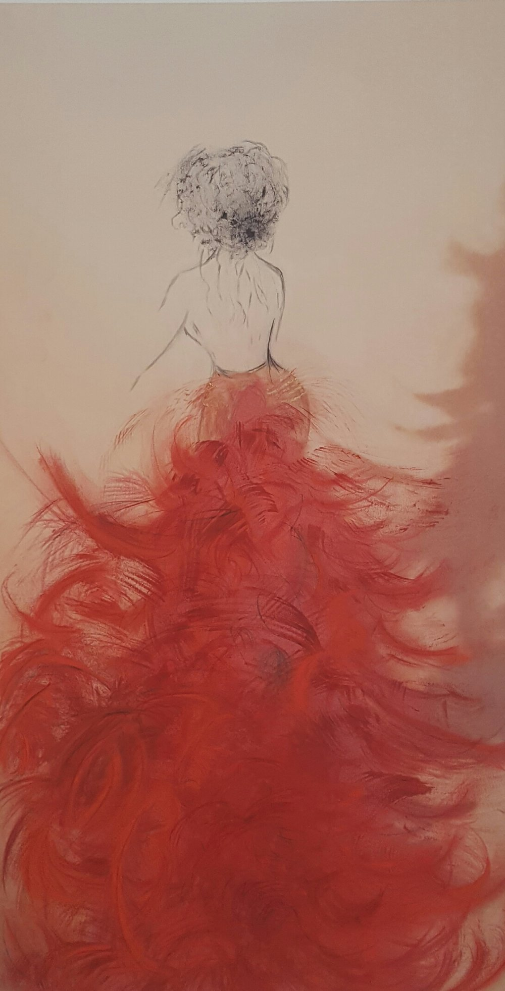 Red Skirt, Mixed Media on Bristol Paper, 13 x 23.5 inches,  SOLD