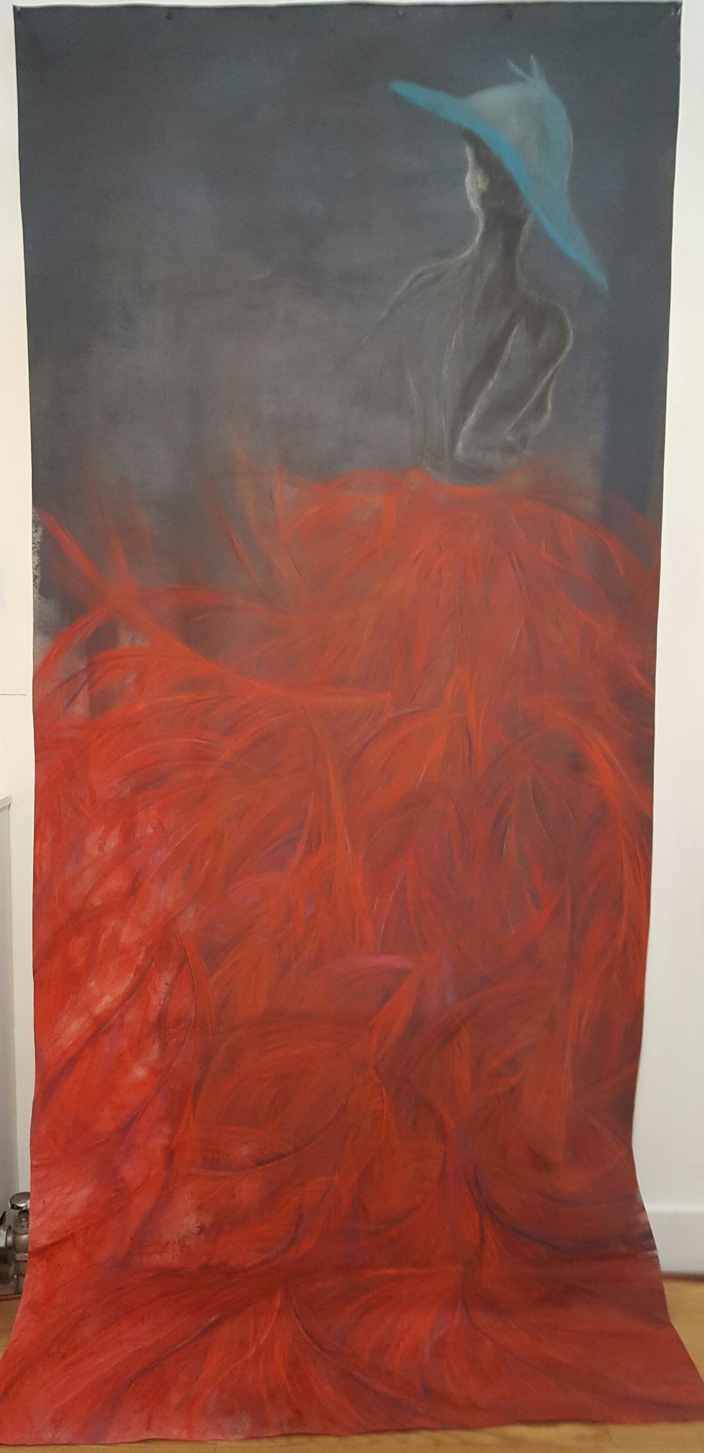 Red Skirt,  Pastel, acrylic, chalk, chalkboard paint on canvas, 52 x 118 inches, SOLD