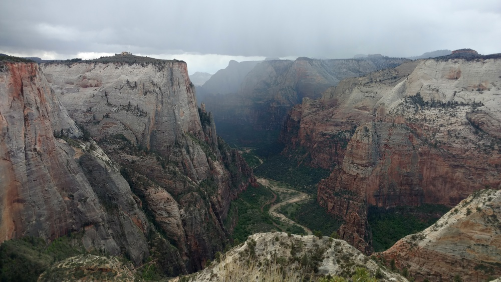 Storm misses us, blowing along Kolob Terrace and through Behunin Canyon.