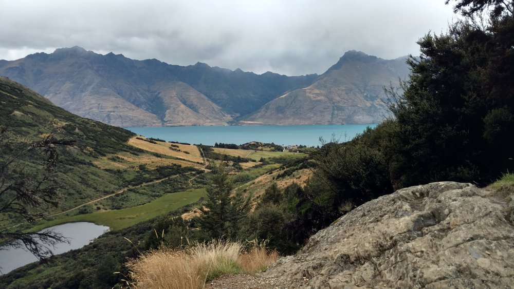 Lake Dispute (picture bottom left) and Lake Wakatipu from trail viewpoint
