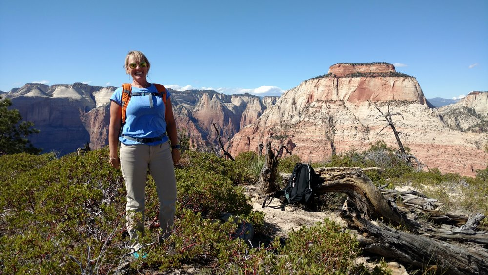 Linda on the Summit of Destination Point