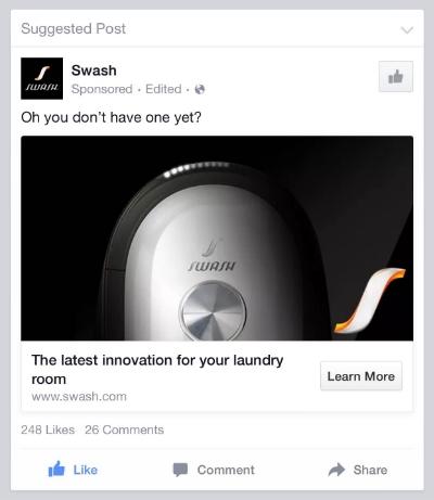 SWASH Facebook Ad