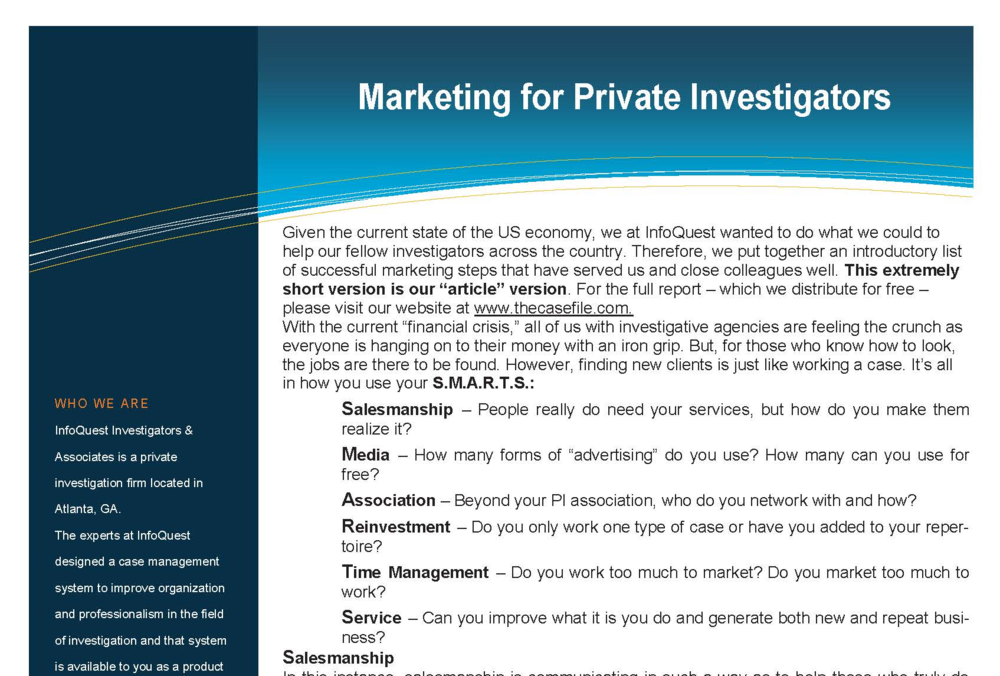 Marketing for Private Investigators — The Case File