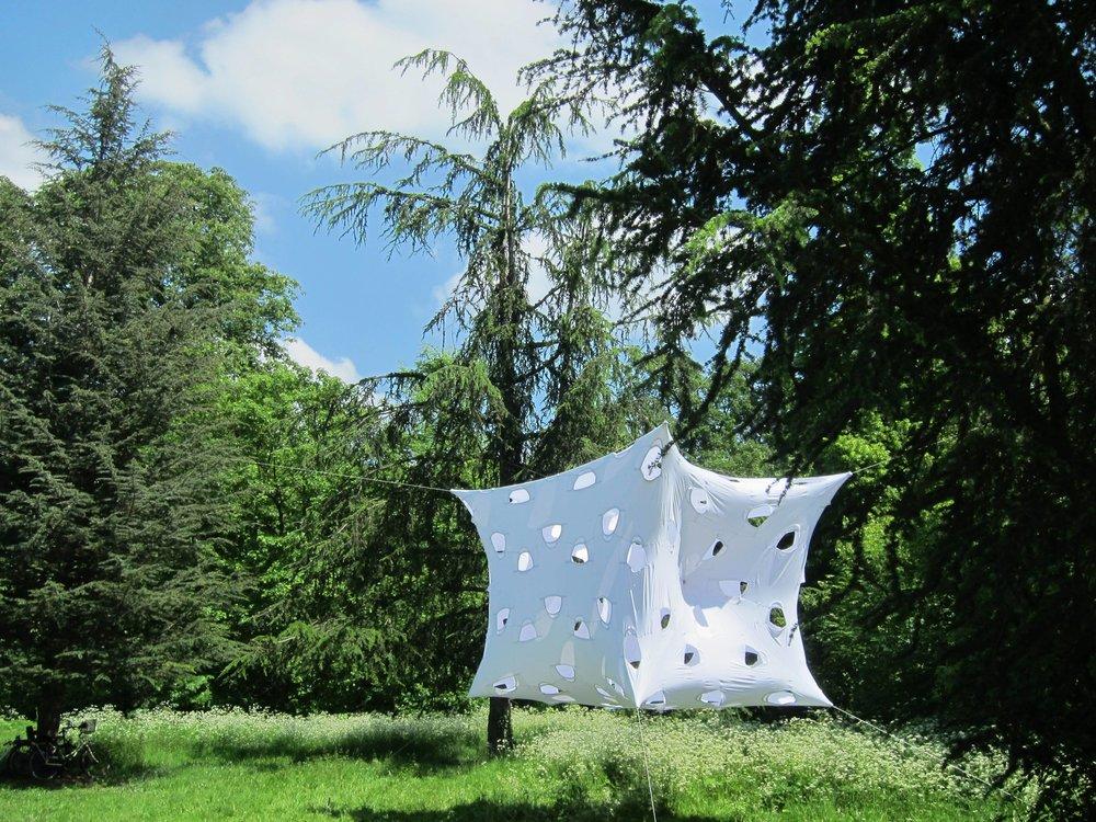 Benjamin Mecz (1985 - 2017)  T³, Installation, 132 T-shirts, Ile aux cèdres, Bois de Boulogne 2014