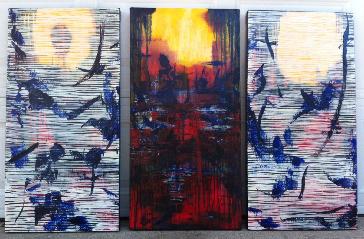 "'The Birds' Triptych 18"" x 36"" x 3"