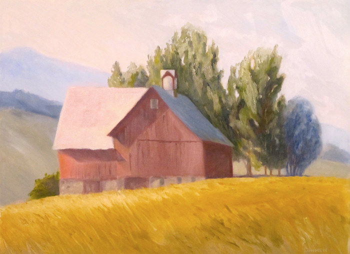 "Red Barn with Cupola | 12""x16"""