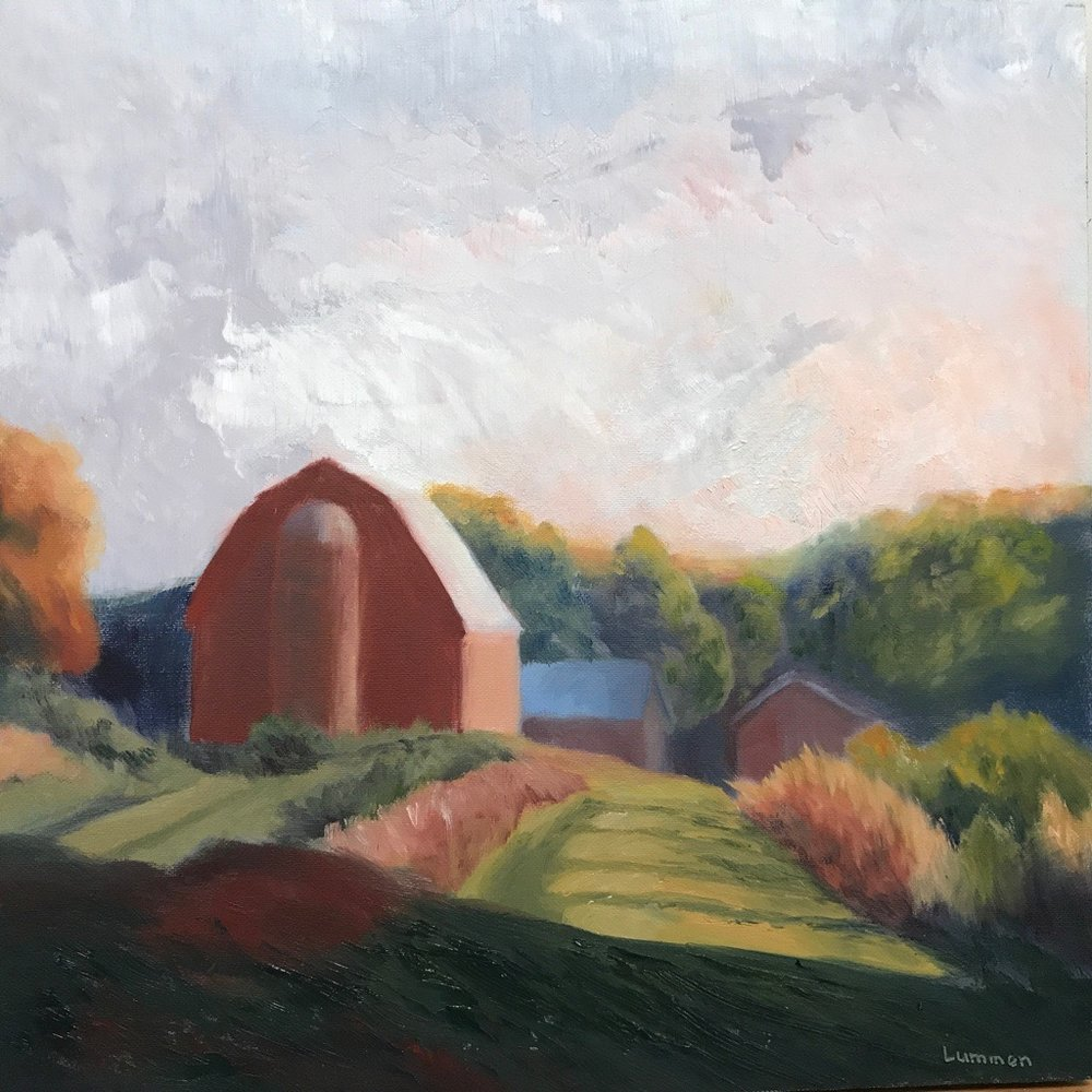 "Red Barn with Silo | 12""x12"""