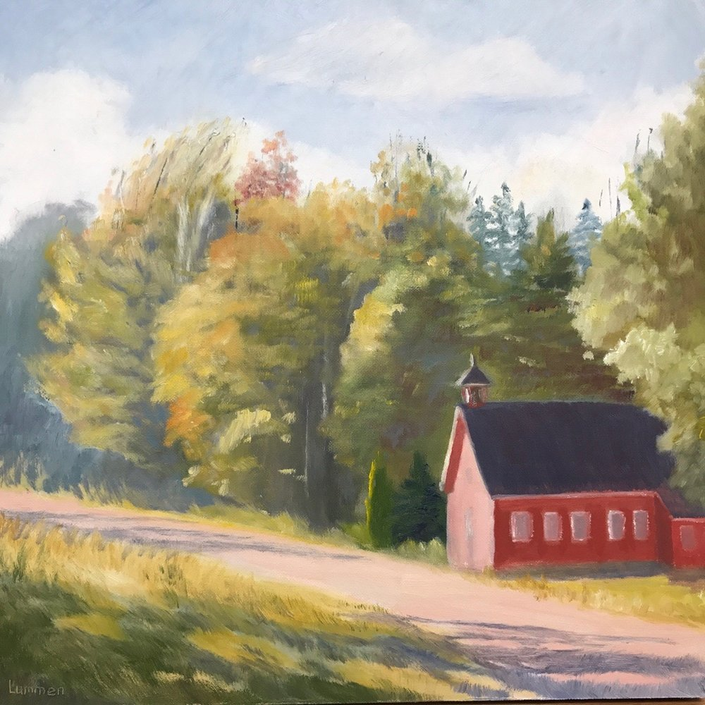 "Red Schoolhouse | 12""x12"""